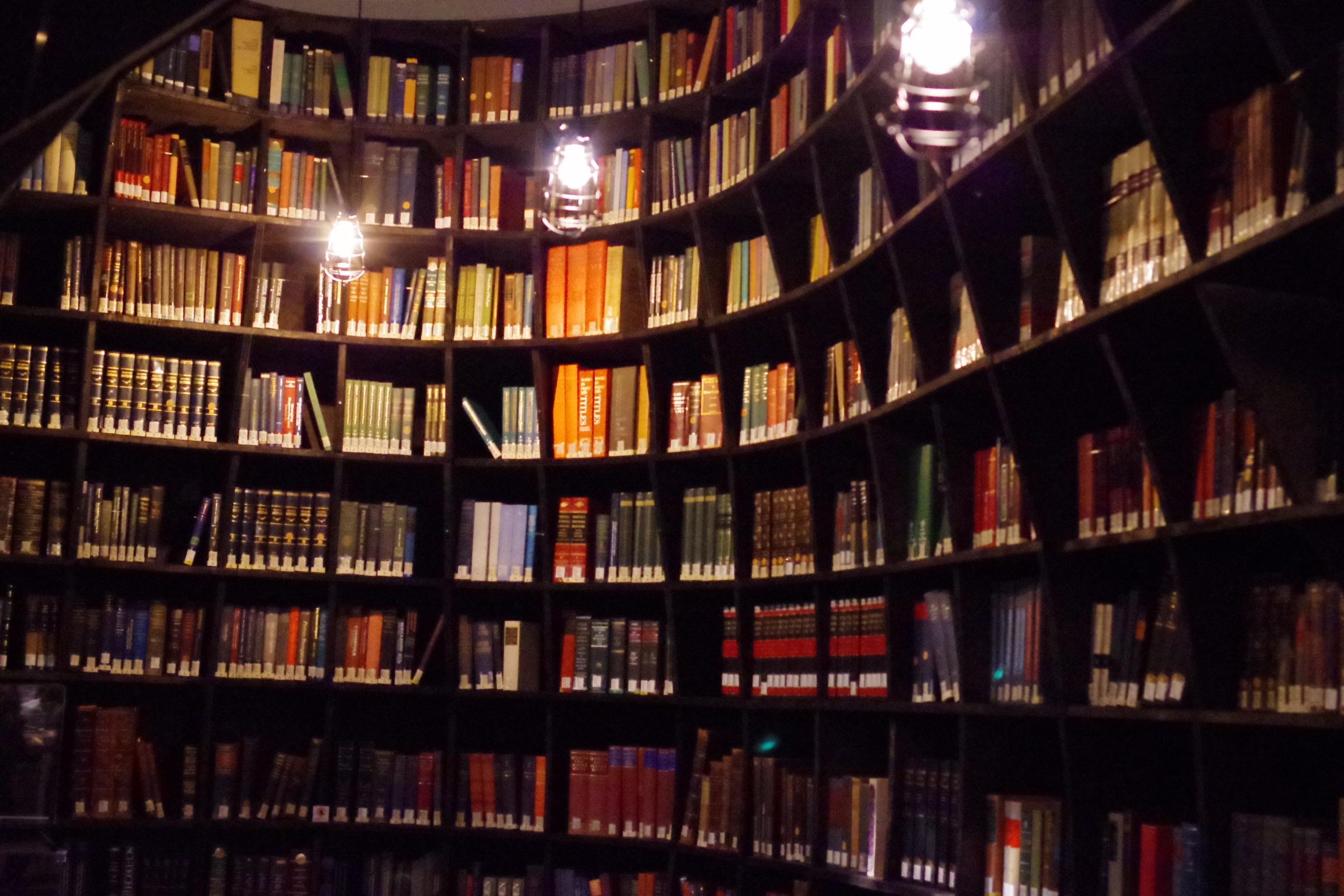 カッコいい本棚。むしろ本の壁。