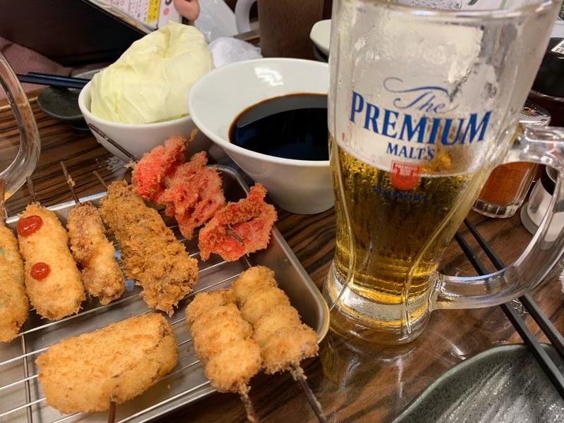 串カツと生ビール