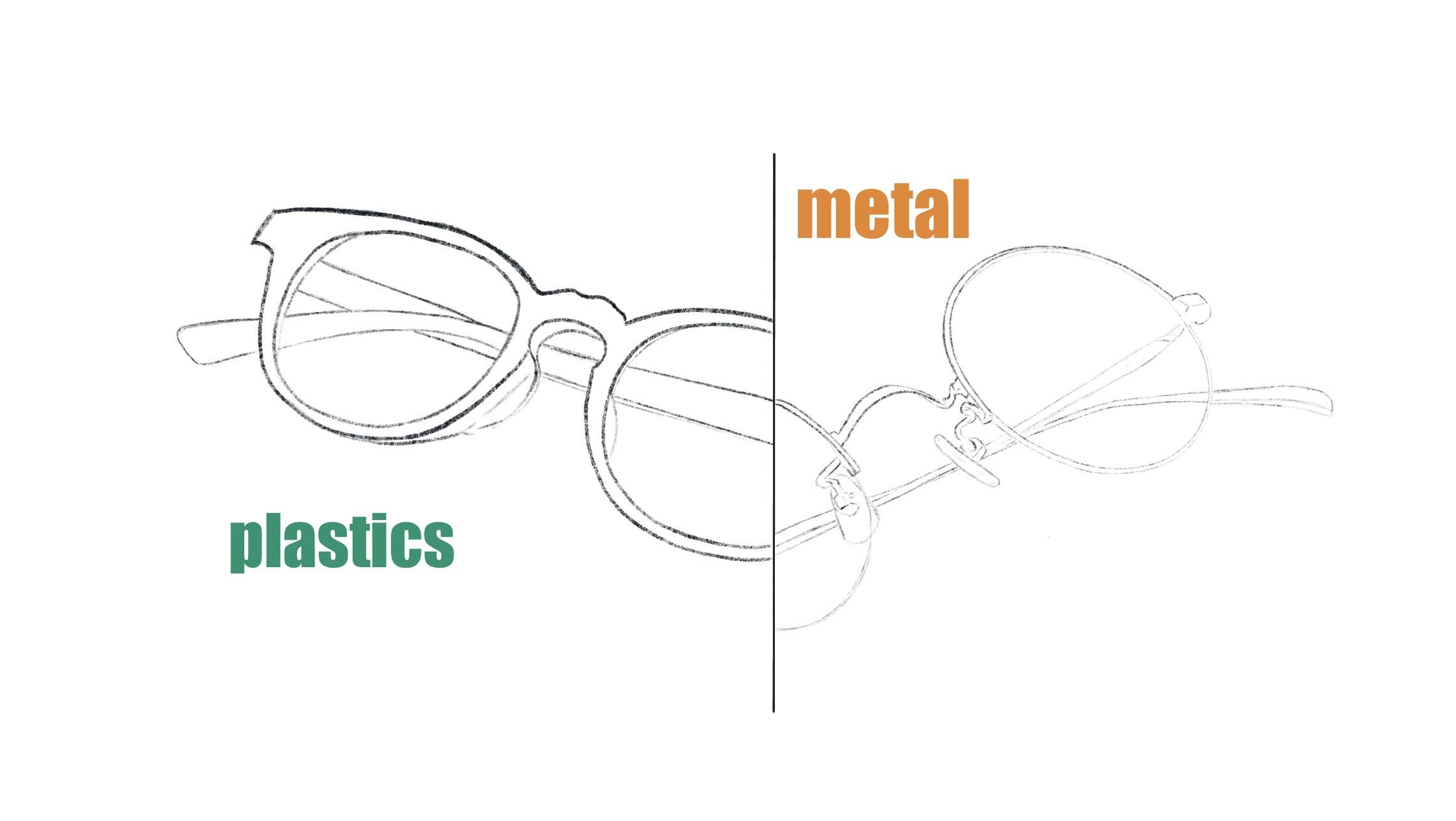 メガネの素材 プラスチック&メタル イラスト