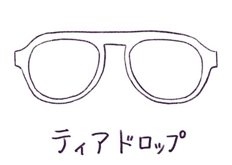 メガネのイラスト ティアドロップ