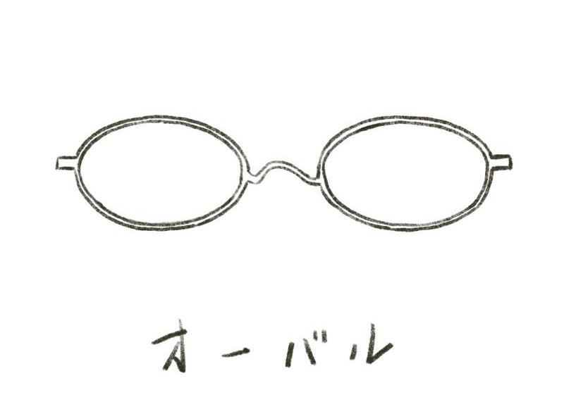 メガネのイラスト オーバル